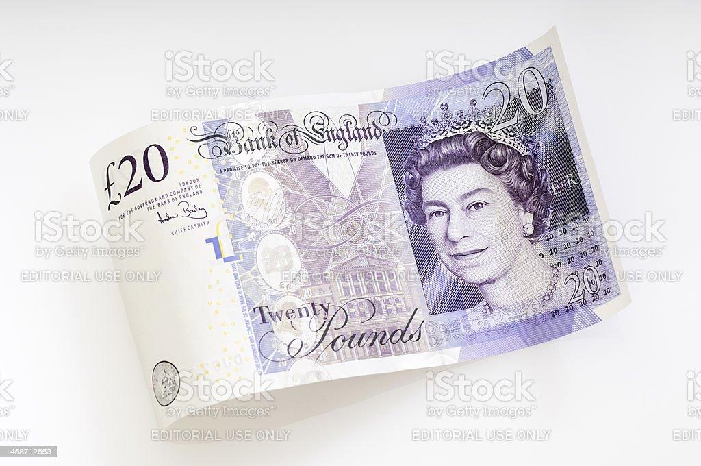 Waved twenty pound note / british currency royalty-free stock photo