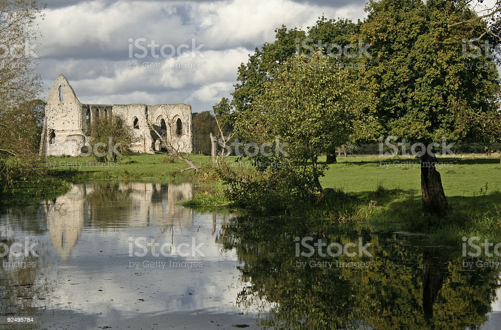 waverley abbey ruins river wey surrey england stock photo