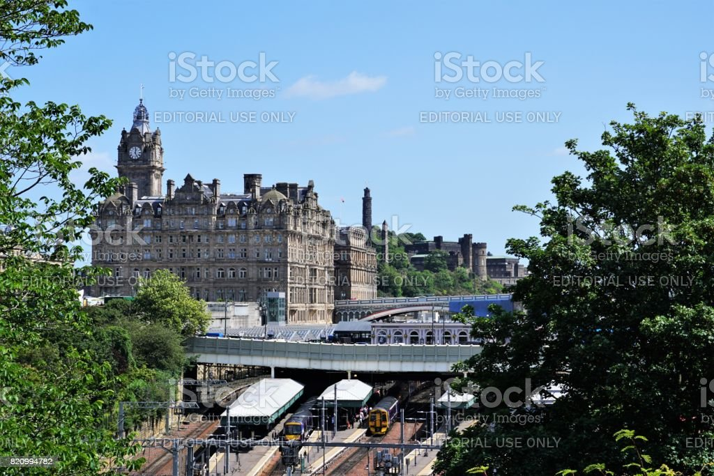 Waverley station and background landmarks stock photo