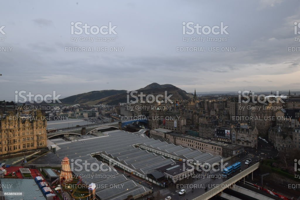 Waverley Station, Arthur's Seat and the Royal Mile from the Scott Monument stock photo