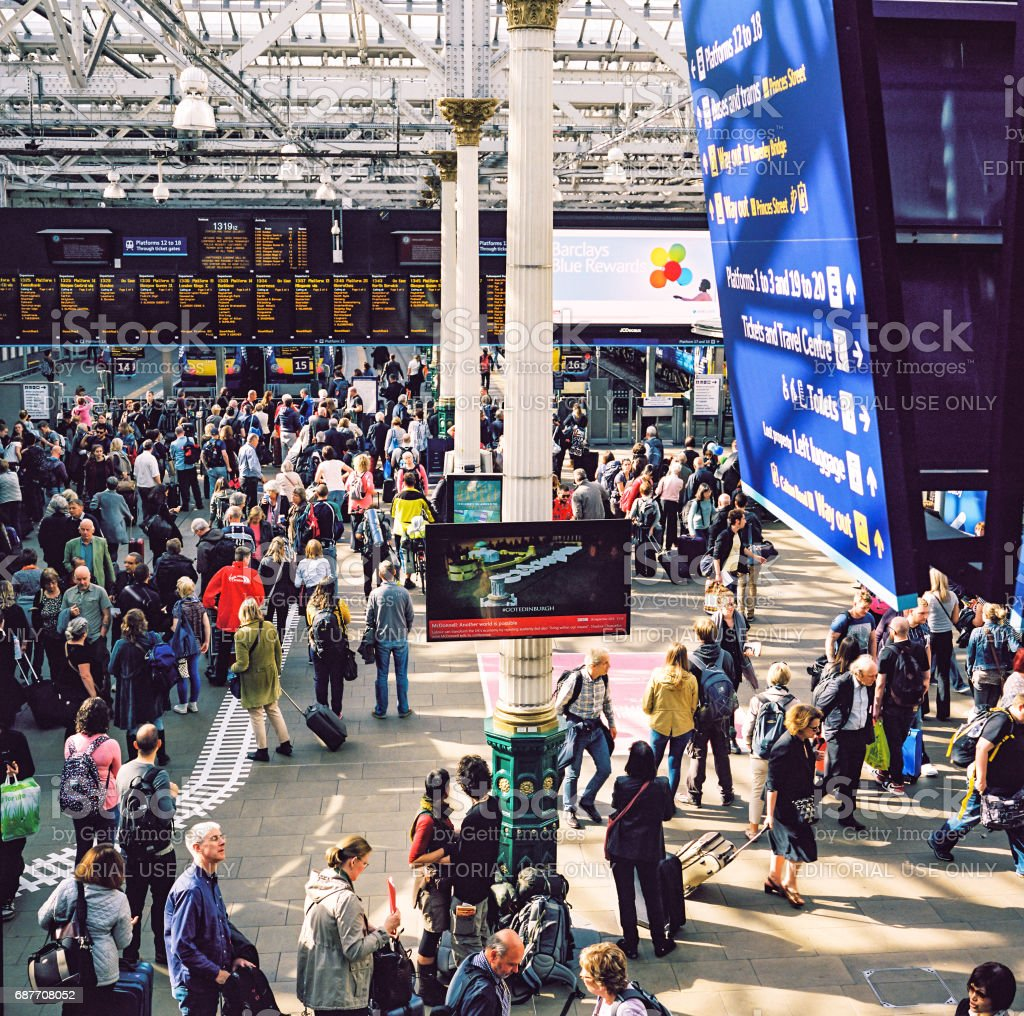 Waverley Station in Edinburgh, crowded with passengers stock photo