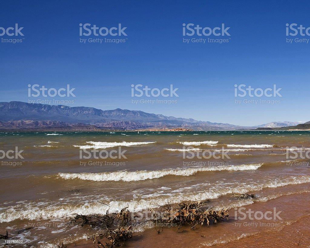 Waves Against Beach stock photo