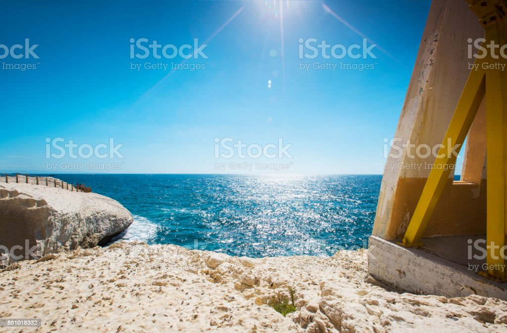Waves and cliff at Rosh Hanikra reserve - Mediterranean sea, Israel stock photo