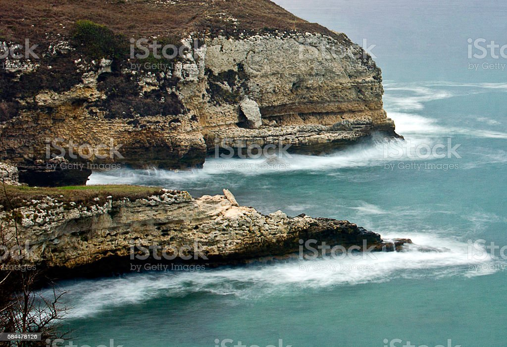 Waves and sea foam stock photo