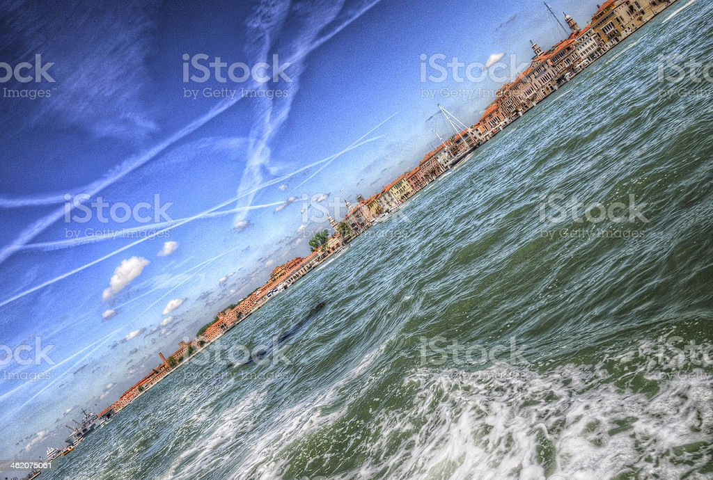 Waves and splashes of water in the Mediterranean sea, Venice stock photo
