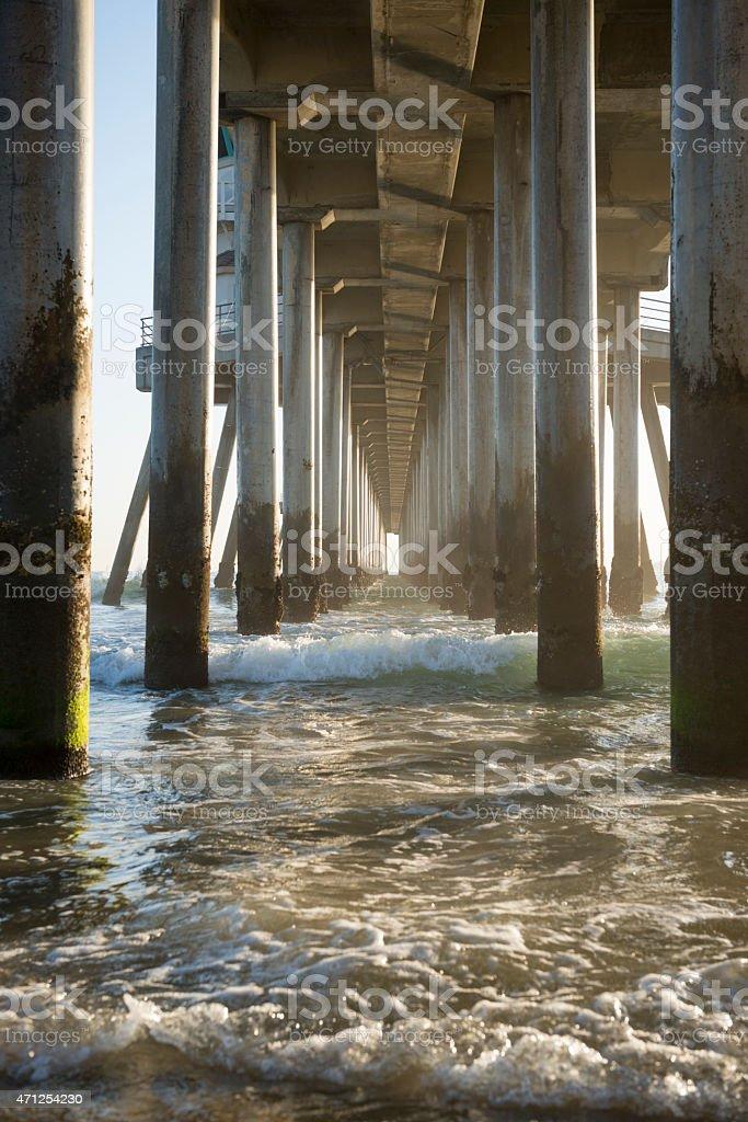 Waves and sunlight underneath the Huntington Beach Pier stock photo