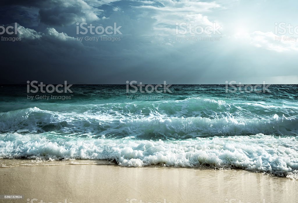 waves at Seychelles beach stock photo