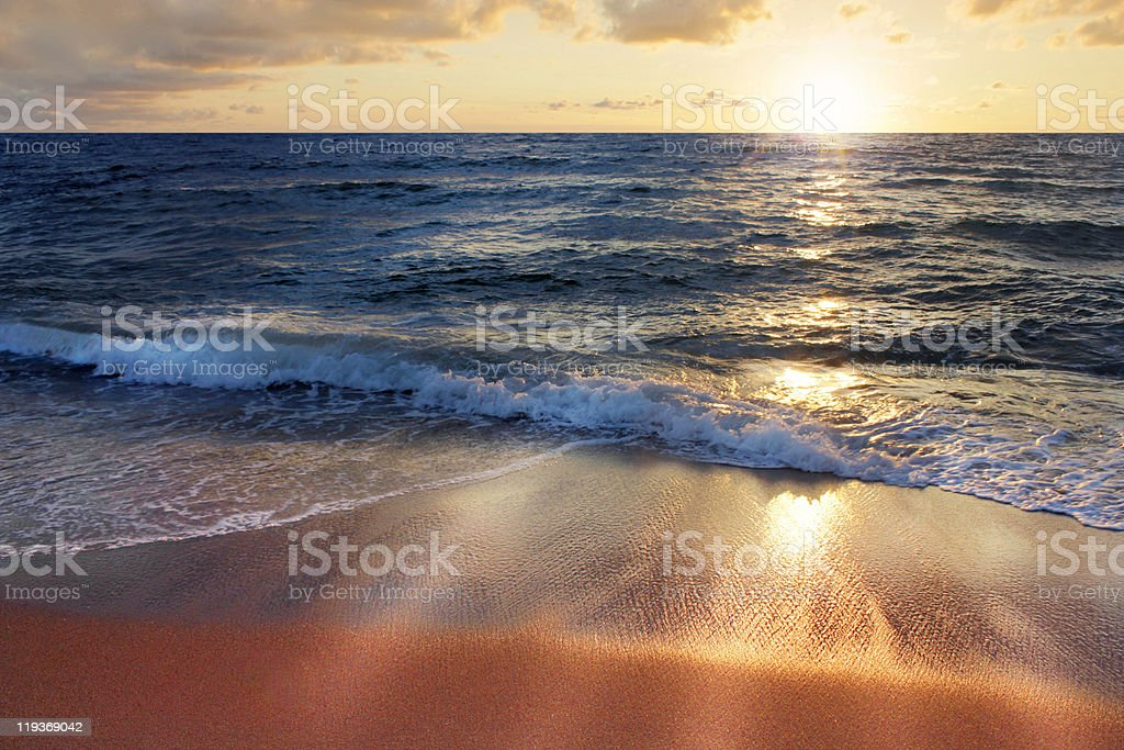 waves at sunset royalty-free stock photo