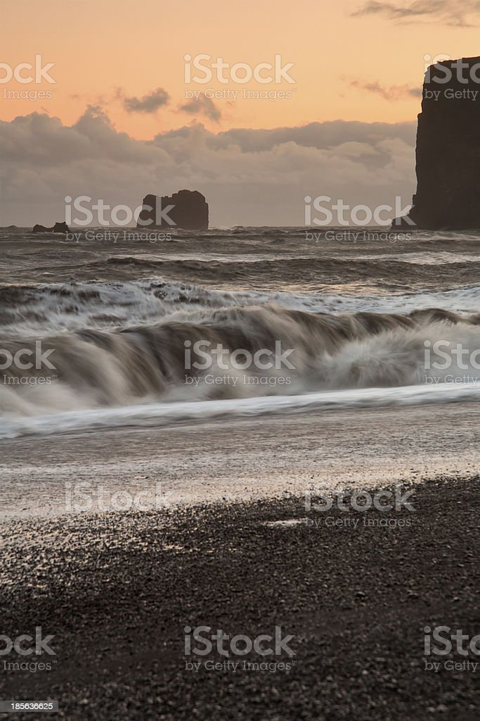 Waves at sunset royalty-free stock photo