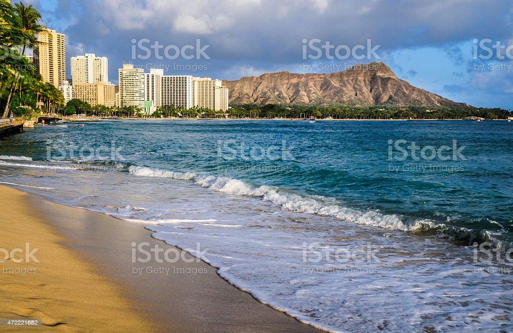 Waves at Waikiki stock photo