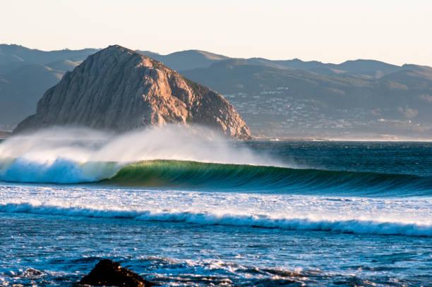 Waves Break in California stock photo