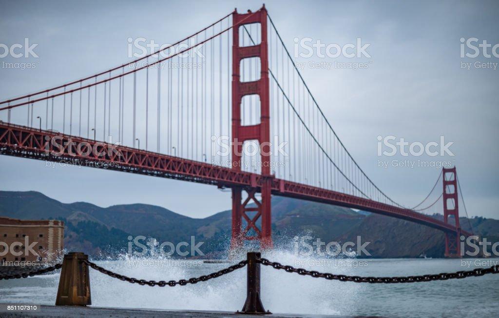Waves Breaking at the Golden Gate Bridge stock photo