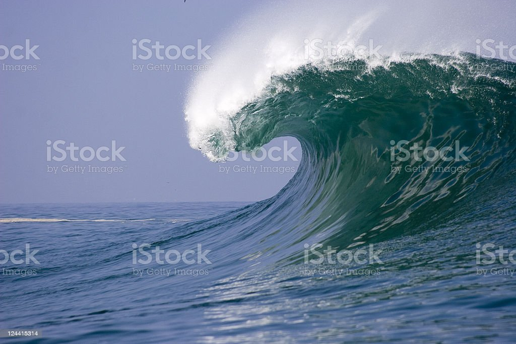 Waves breaking in ocean on Chilean coast stock photo