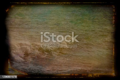 Waves breaking in the North Sea at Sunderland near Roker Pier.