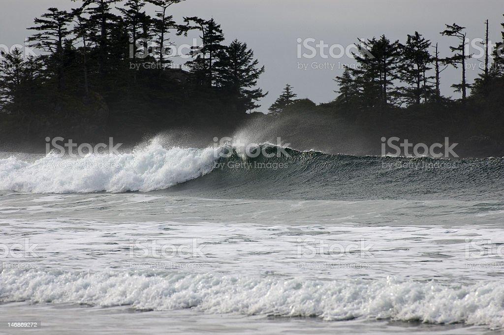 Waves Breaking In Tofino, BC stock photo