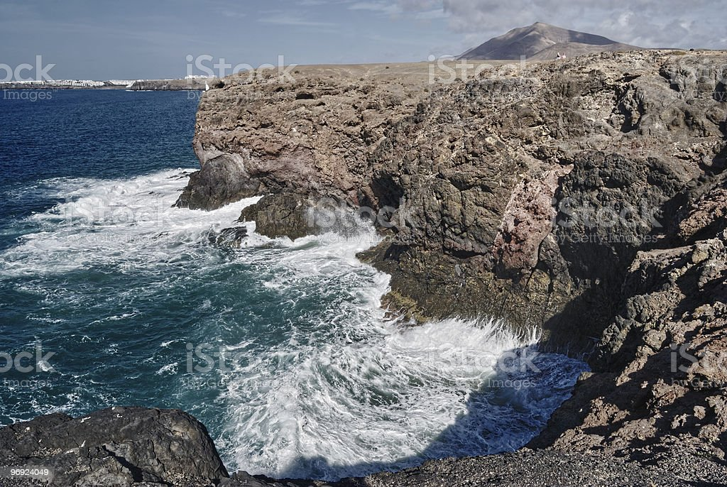 Waves breaking on cliffs royalty-free stock photo