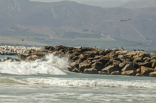 The waves crash against the jetty in Ventura, California. The jetty is doing its job, keeping the beach safer from erosion. As the Pacific Ocean waves head towards shore, the scene created is both powerful and appealing