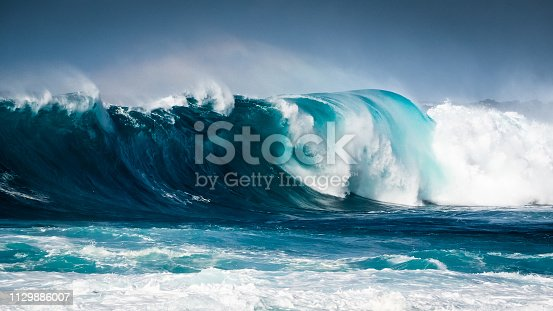 Waves breaking on the coast of Lanzarote, La Santa. Canary Island