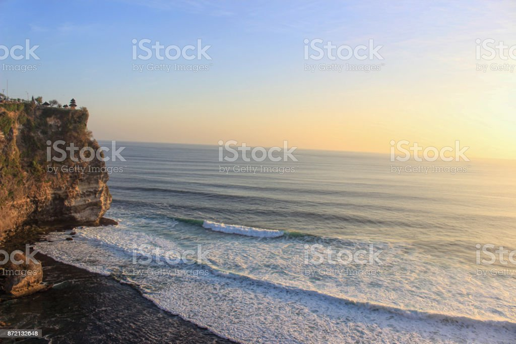 Waves coming on the beach in bali stock photo