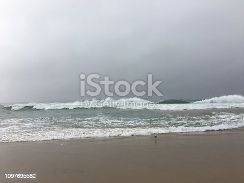 Waves crash in the storm