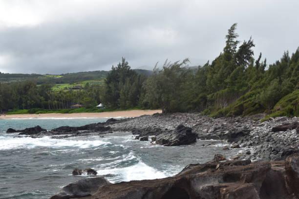 Waves Crashing at Honokahua Bay stock photo