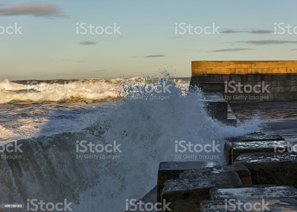 Waves crashing at Lossiemouth. royalty-free stock photo