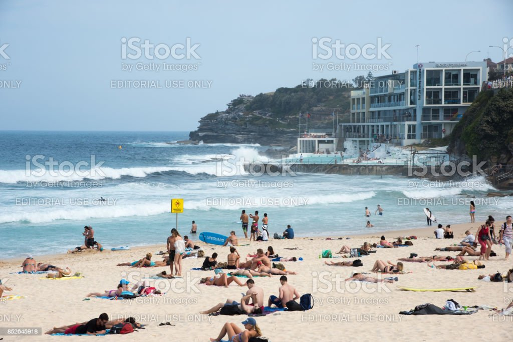 Waves Crashing Bondi Icebergs Pool stock photo
