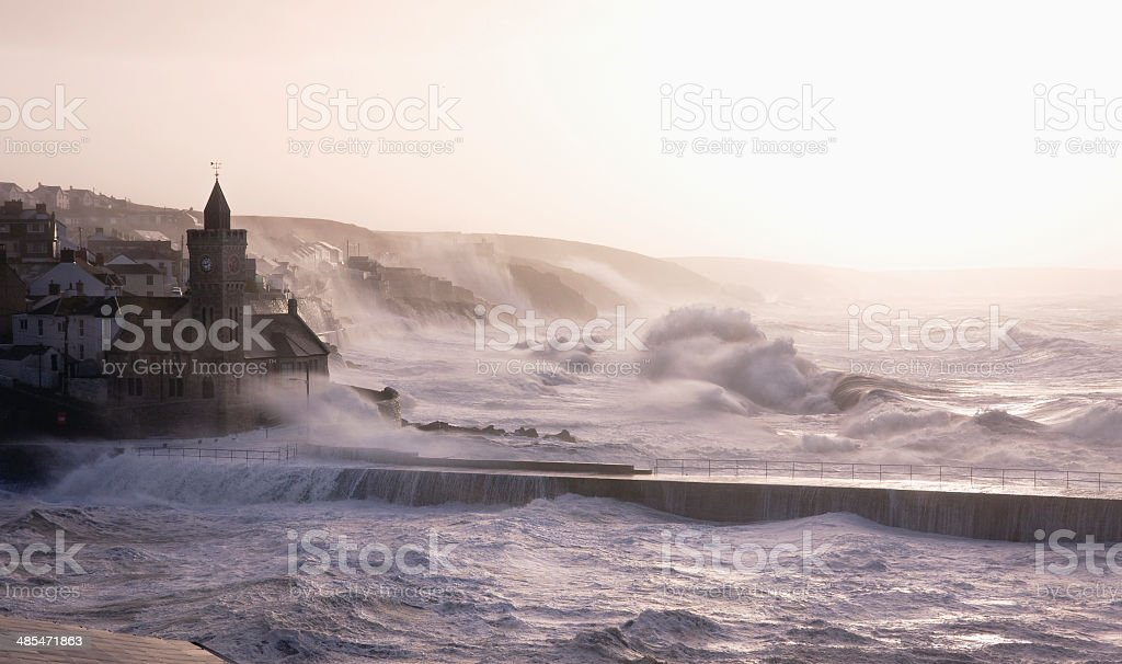 Waves crashing into Porthleven in Cornwall during hurricane Hercules stock photo