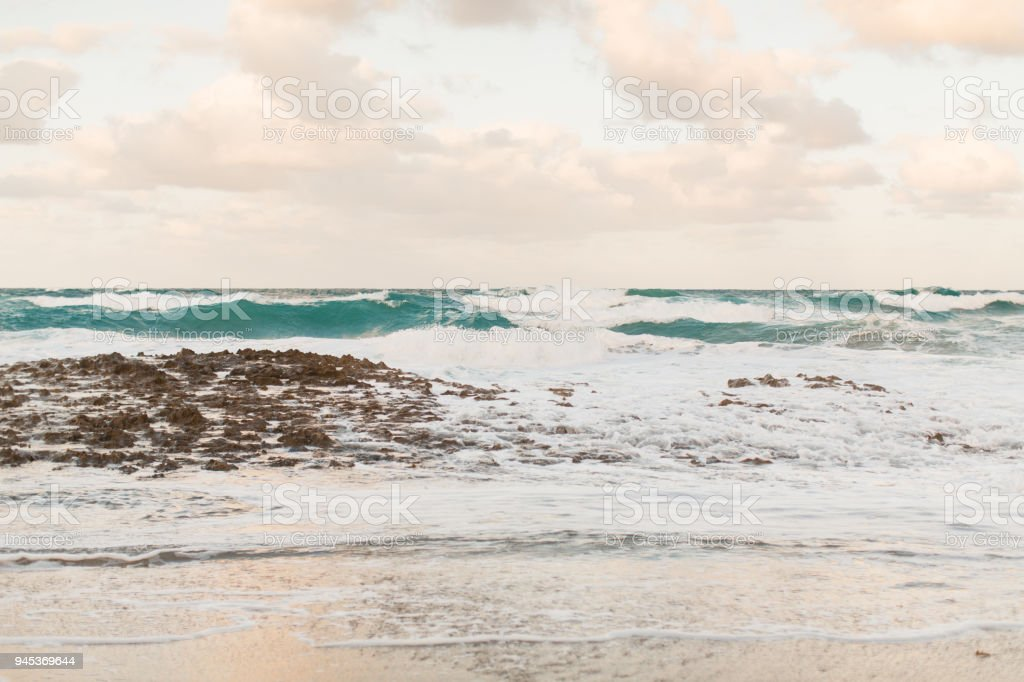 Waves Crashing On A Rocky Beach Stock Photo - Download Image Now