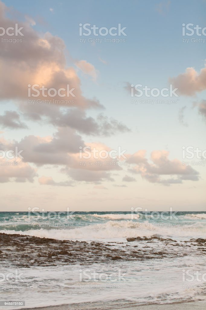 Waves Crashing on a Rocky Beach stock photo