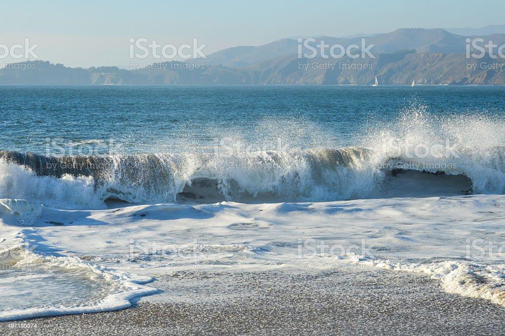Waves Crashing On Baker Beach San Francisco Ca Stock Photo