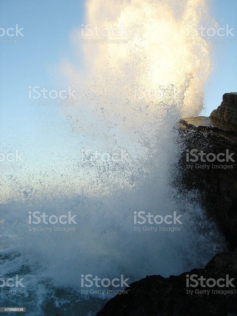 Waves Crashing on Big Sea Rocks royalty-free stock photo