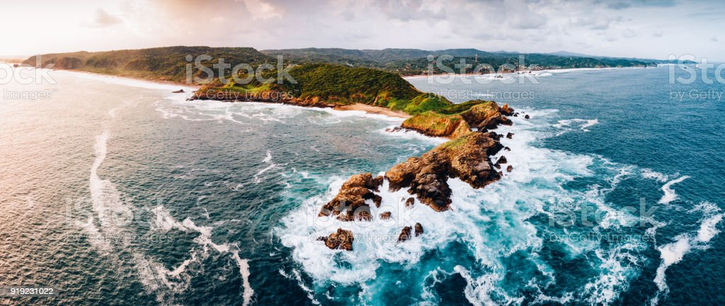 Waves Crashing on Oaxaca Coast Mexico stock photo