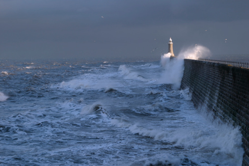 Waves Crashing Over Pier 2 Stock Photo - Download Image Now