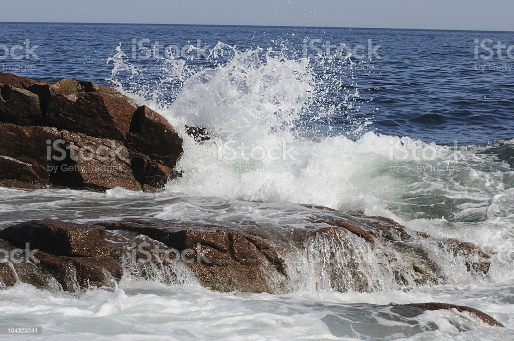 Waves crashing over Rocks royalty-free stock photo
