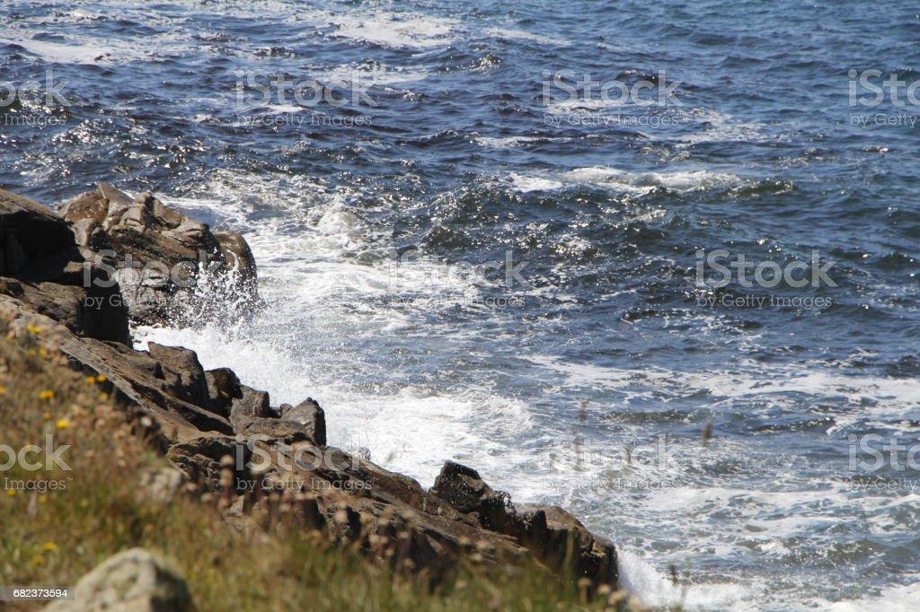 Waves crushing on the coast of Brittany zbiór zdjęć royalty-free