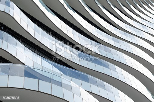istock Waves facade design - Balconies like waves flow elegantly. 505975325