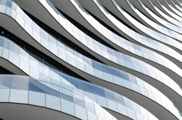Waves facade design - Balconies like waves flow elegantly. stock photo
