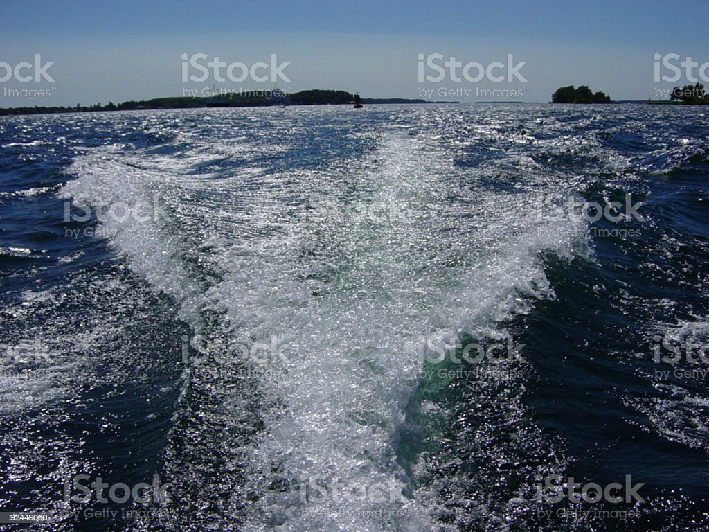 Waves from Motorboat Wake royalty-free stock photo