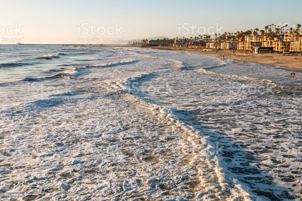 Waves Head Towards Beach in Oceanside, California stock photo