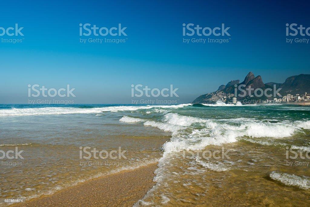 Waves in Ipanema Beach stock photo