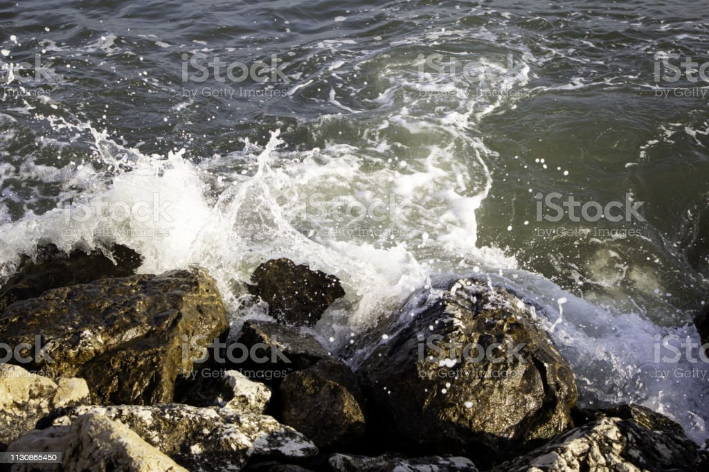 Waves in the sea stock photo