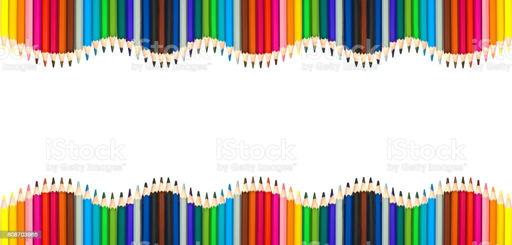 Waves of colorful wooden pencils isolated on white background, blank frame back to school, art and creativity concept stock photo