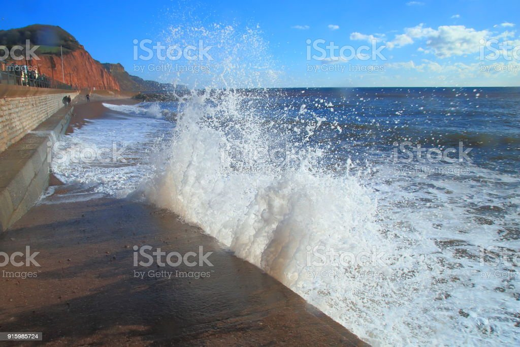 Waves on a windy day stock photo