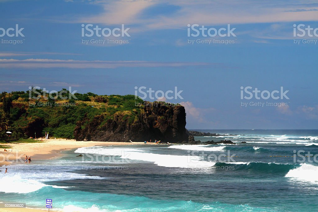 Waves on Boucan Canot Beach, Reunion stock photo