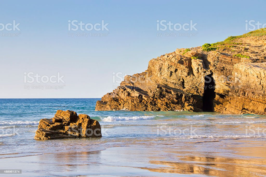 Waves on Cathedrals beach stock photo