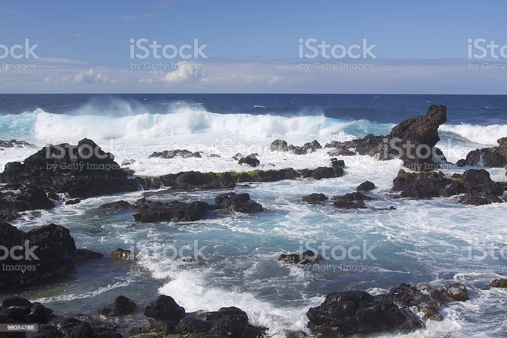Waves on Lava Rocks in  Maui royalty-free stock photo