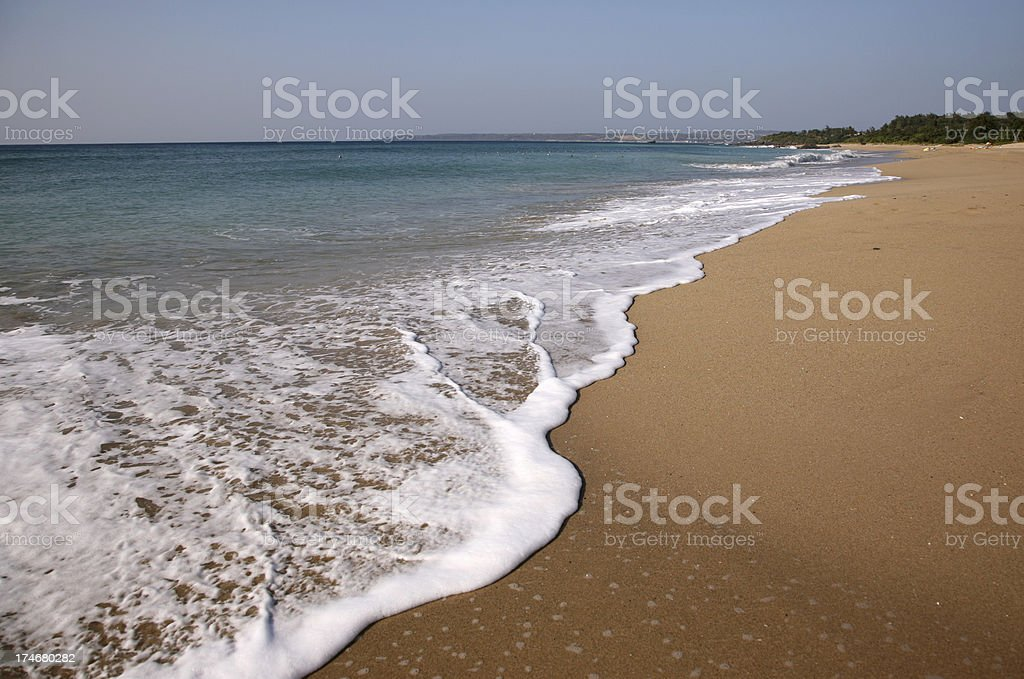 Waves on Sand Beach stock photo