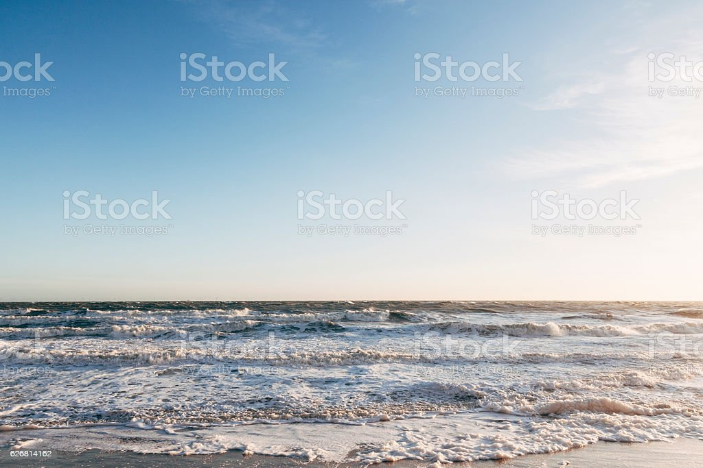 Waves on the Kent coast in South-East England stock photo