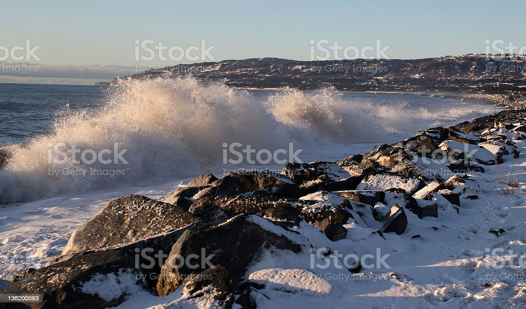Waves on the rocks stock photo